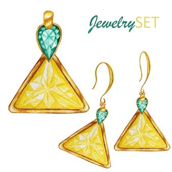 美しい宝石セット。ゴールデンペンダントとイヤリング。金の要素が付いたドロップアンドトライアングルクリスタルの宝石ビーズ。水彩画
