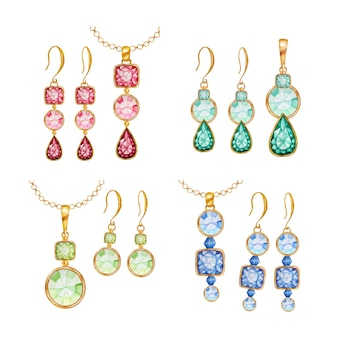 Beautiful jewelry set. red, green, blue crystal square, round gemstone beads with gold element. watercolor drawing golden pendant on chain and earrings