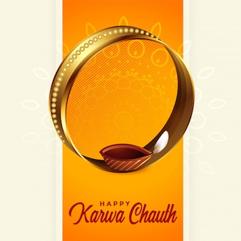 Beautiful karwa chauth festival greeting background design