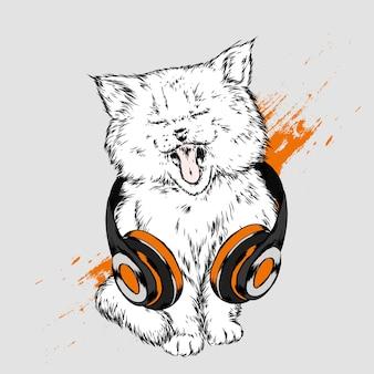 Красивый котенок в наушниках иллюстрации