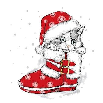 サンタのブーツの美しい子猫。クリスマス。