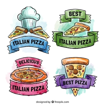 Belle etichette per mano la pizza dipinte