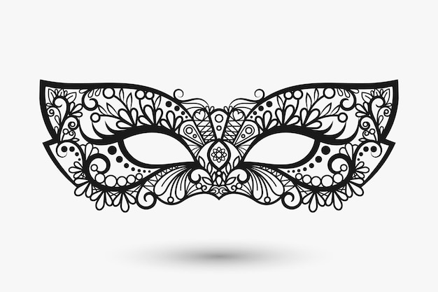 Beautiful lace mask. mardi gras mask icon.   llustration