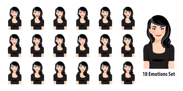 Beautiful lady in black dress with different facial expressions set isolated in cartoon character style