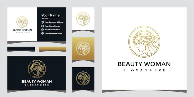 Beautiful lady logo with line art style and business card design.