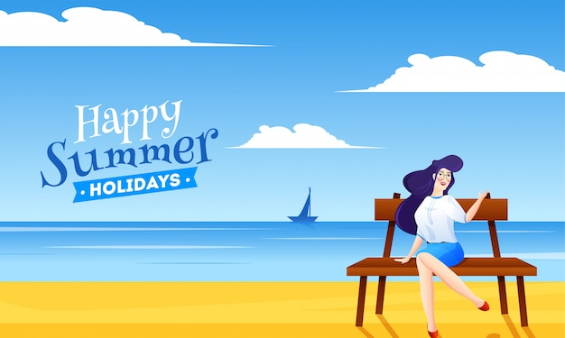 Beautiful lady sitting on bench with beach view background for happy summer holidays