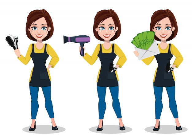 Beautiful lady stylist cartoon character