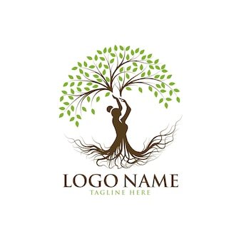 Beautiful lady tree logo template