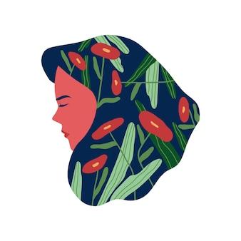 髪に抽象的な花を持つ美しい女性メンタルヘルス心理学クリエイティブコンセプトイラスト