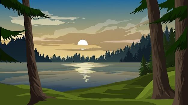 Красивый закат на озере с озером и сосновым лесом