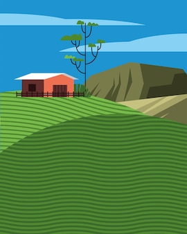 Beautiful landcape scene with stable in field vector illustration design