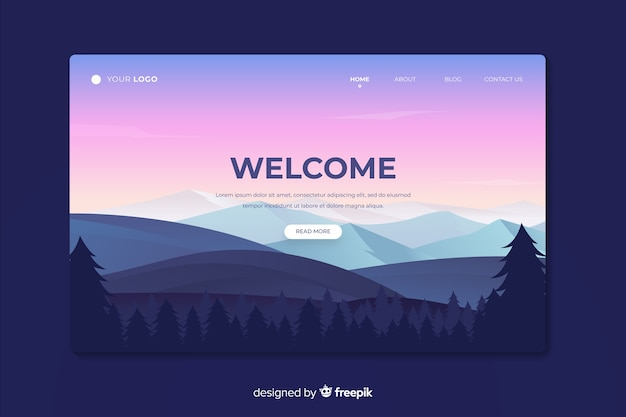Beautiful landing page with gradient landscape