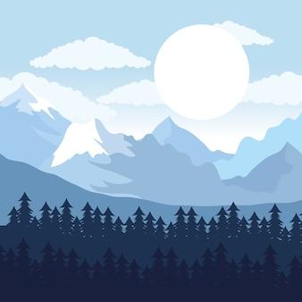 Красивый пейзаж день лесная сцена с соснами и солнцем иллюстрации