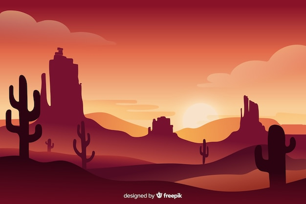 Beautiful landscape of desert at dawn