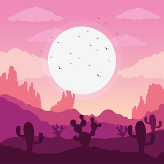 Beautiful landscape desert scene with cactus and birds flying illustration