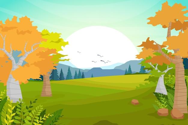 平らなイラストと美しい風景の自然。谷とトウヒの森、自然観光の造園、旅行山の冒険の概念