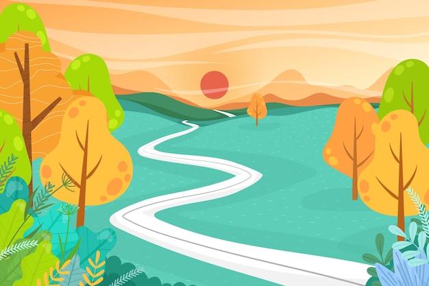 平らなイラストと美しい風景の自然。谷とトウヒの森、自然観光の風景、旅行山の冒険の概念
