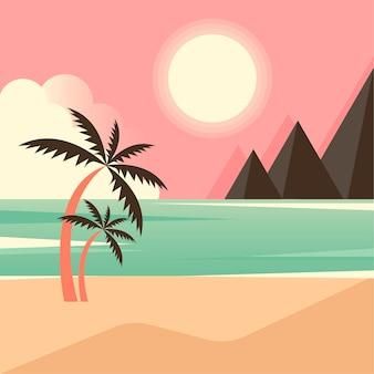 Красивый пейзаж тропического острова с горами.