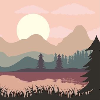 Beautiful landscape sunset scene with lake and pines illustration