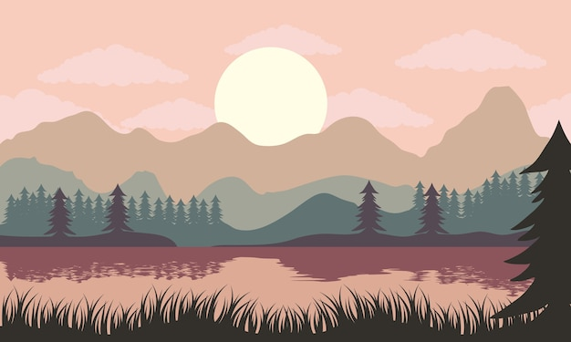 Beautiful landscape sunset scene with lake and pines trees illustration