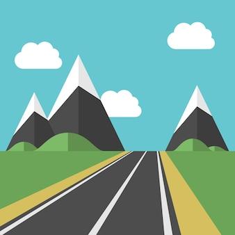 Красивый пейзаж с голубым небом, белыми облаками и дорогой, ведущей к высоким горам среди зеленых полей. eps 8 векторные иллюстрации, без прозрачности