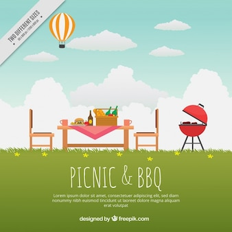 Beautiful landscape with delicious bbq and picnic background