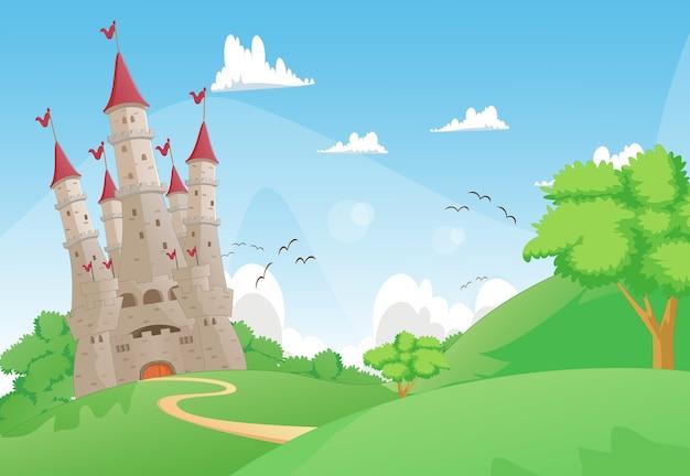 Красивый пейзаж с сказочным замком
