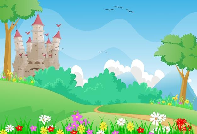 Beautiful landscape with fairy tale castle