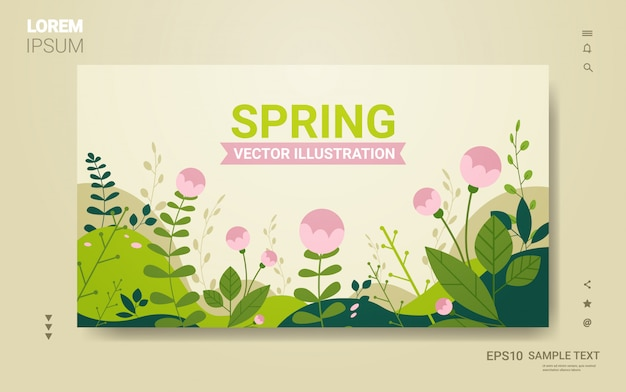 Beautiful landscape with flowers and leaves floral spring poster horizontal greeting card