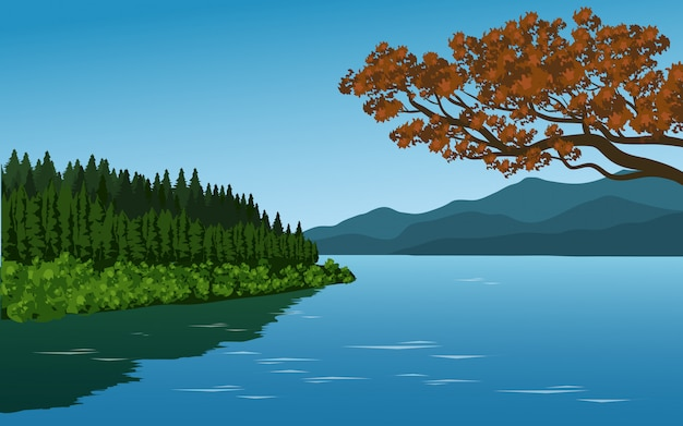 Beautiful landscape with lake and trees