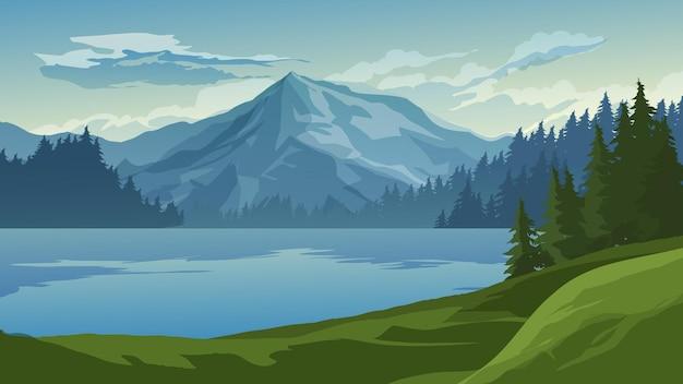 Красивый пейзаж с горными деревьями и озером
