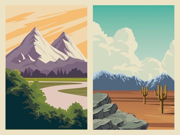 나무 숲과 산들과 아름다운 풍경