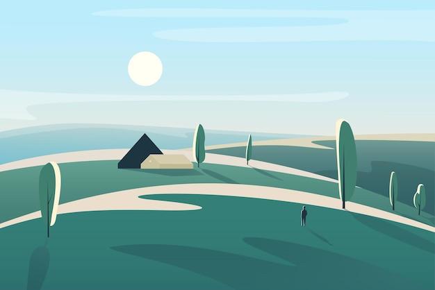 Красивый пейзаж с деревенским домом в полях, лугах