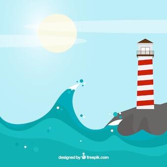Красивый пейзаж с волнами и маяком