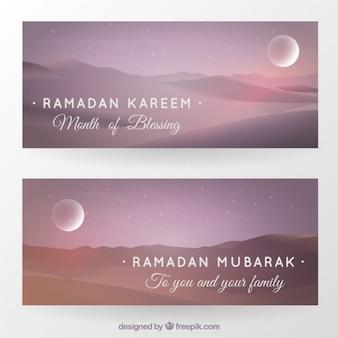 Beautiful landscapes ramadan banners
