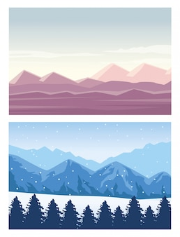 Beautiful landscapes with desert and forest scenes