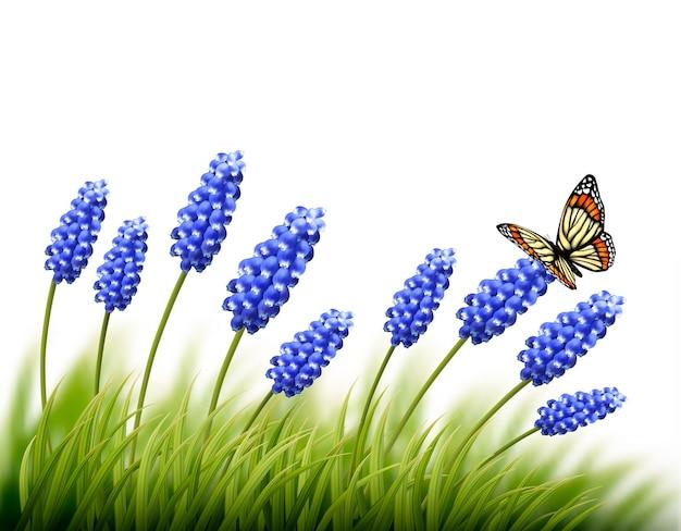 蝶と美しいラベンダーの背景。