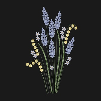 Beautiful lavender embroidered with purple and green stitches on black background. gorgeous floral embroidery design with flowering herbaceous plant. needlework or handicraft. illustration.