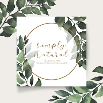 Красивая цветочная рамка с листьями