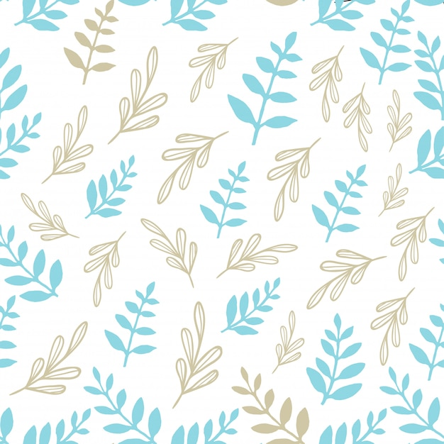 The beautiful  leaf plants christmas seamless pattern.