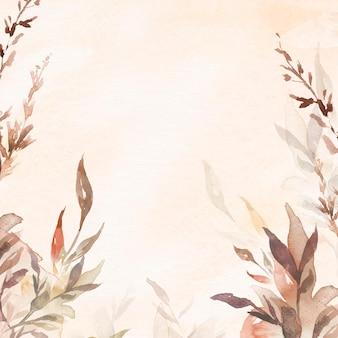 Beautiful leaf watercolor background vector in brown autumn season