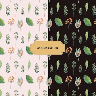 美しい葉と枝の水彩シームレスパターン