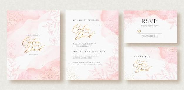 웨딩 카드 템플릿에 아름다운 나뭇잎과 스플래시 수채화