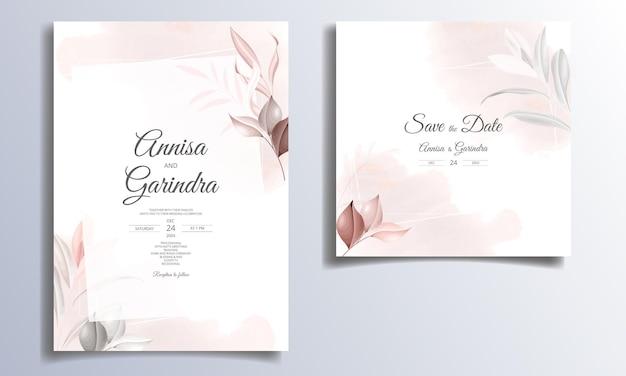 美しい葉フレーム結婚式の招待カードテンプレート
