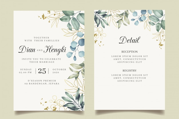 Beautiful leaves gold wedding invitation with splatters gold
