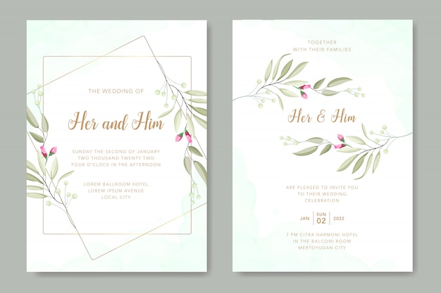 美しい葉ベクター結婚式カードテンプレート