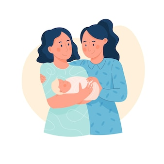Красивая лесбийская пара с ребенком на иллюстрации