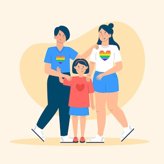 Beautiful lesbian couple with a kid illustrated