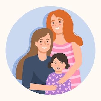 Bella coppia lesbica con un bambino illustrato