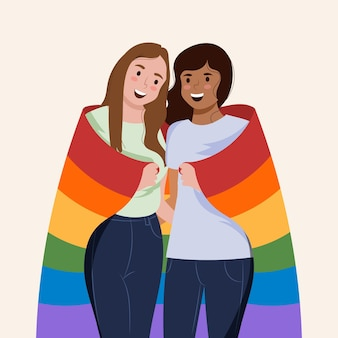 Beautiful lesbian couple with lgbt flag illustrated